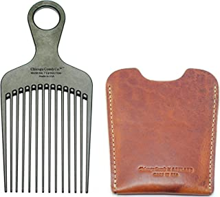 """Chicago Comb No. 7 Carbon Fiber + Horween English Tan leather sheath, Made in USA, Detangling, Pick & Lift Comb, Men & Women, Long, Curly & Thick Hair, Big Beards & Afros, Anti-Static, 6"""" (15 cm) Long"""