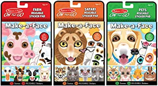 Melissa & Doug Make-A-Face Reusable Sticker Pad Animals 3 Pack (Safari, Farm, Pets)