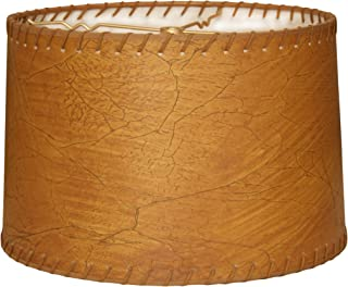 Royal Designs HB-624-16 Shallow Drum Lamp Shade, 15 x 16 x 10, Dark Leather