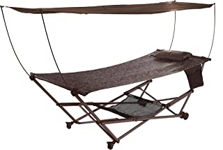 Bliss Hammocks Q-806BJR Stow EZ Portable Hammock with Stand and Canopy, Brown Jacquard