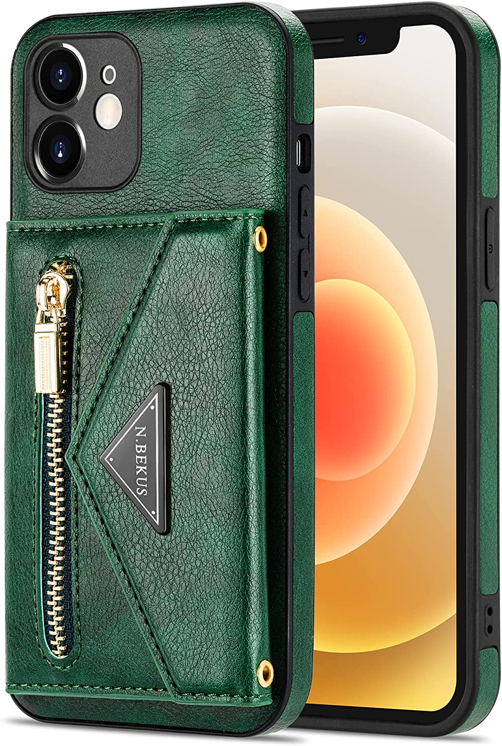 Crossbody Wallet Case for iPhone XR with Card Holder, Zipper Back Flip Card Slot Protector Shockproof Purse PU Leather Cover with Removable Cross Body Strap (Green)