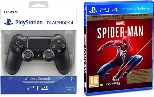 Dualshock 4 Wireless Controller for Playstation 4 - Black V2&Marvel's Spider Man (PS4) - Game of the Year Edition (PS4)