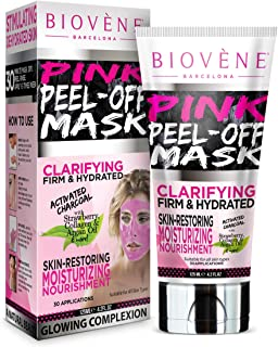 Biovène Pink Peel Off Mask,4.2-oz Tube. With Activated Charcoal, Strawberry Extract and Collagen
