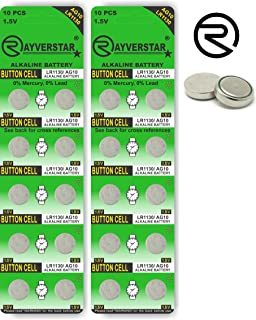 Rayverstar LR1130 AG10 1.5V Alkaline, 20 Batteries Fits: L1131, 189, 389, 390, 534, 554, 603 (List Below)
