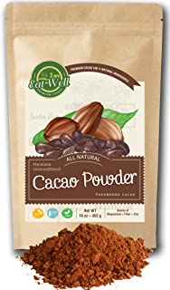 Cacao Powder | 16 oz Reseable Bag | Dark Cacao Powder | Dutch-Process Cocoa Powder | Unsweetened Cocoa | Antioxidants and Resveratrol | Gluten Free |% 100 Natural | by Eat Well Premium Foods