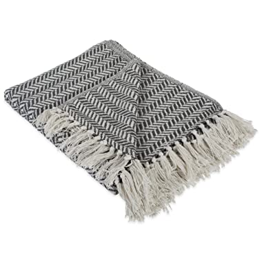 DII Modern Farmhouse Cotton Herringbone Blanket Throw with Fringe For Chair, Couch, Picnic, Camping, Beach, & Everyday Use , 50 x 60  - Herringbone Chevron Mineral Gray