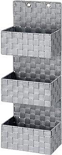WENKO Organiseur de salle de bains Adria gris - panier de salle de bain, 3 étages, Polypropylène, 25 x 72 x 15.5 cm, Gris