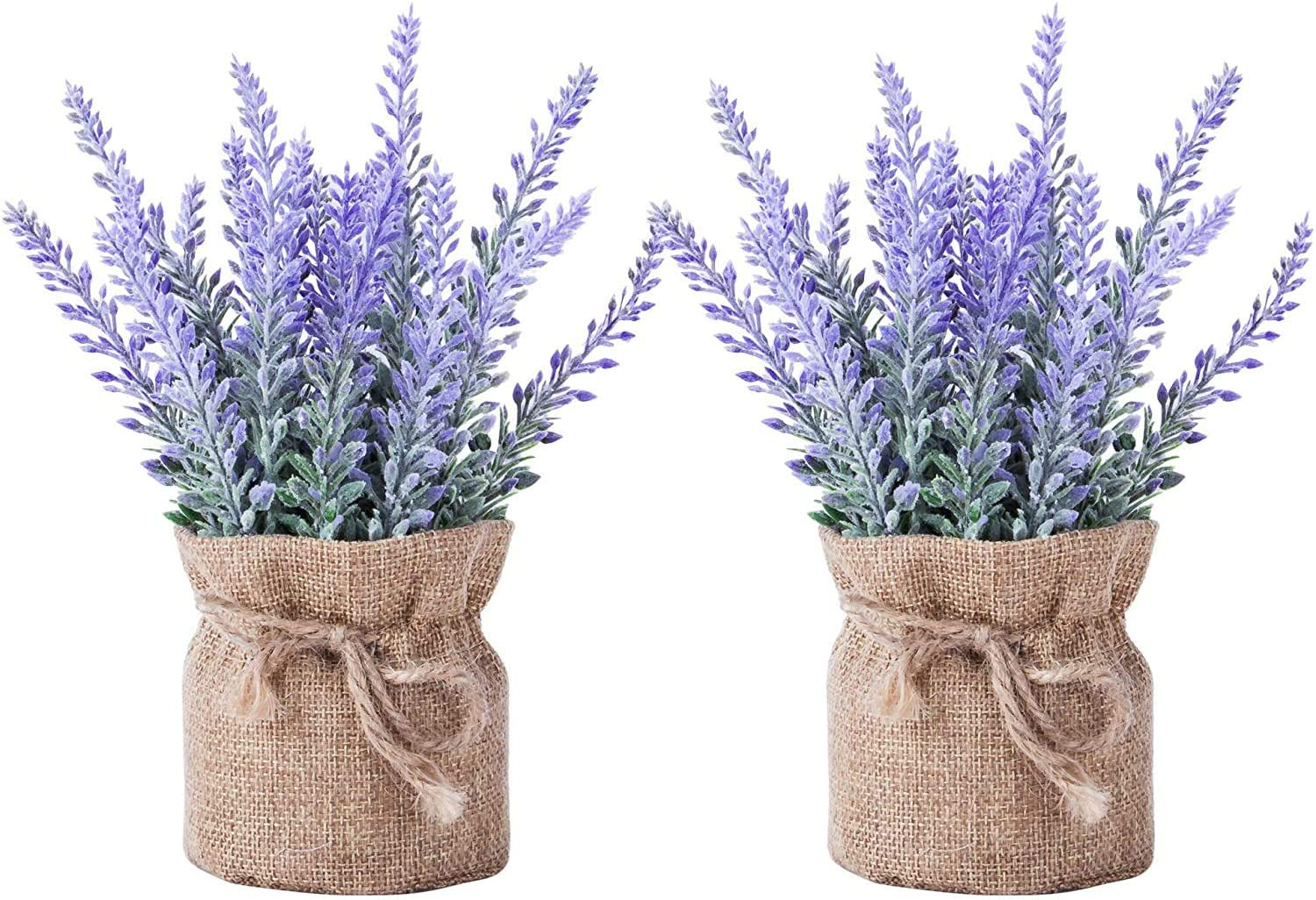 2 Pack Small Burlap Potted Lavender Flowers Import Plants Inventory cleanup selling sale - Artificial