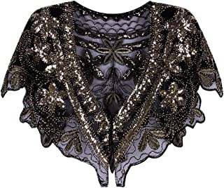 Vijiv Women's 1920s Shawl Wrap Art Deco Sequin Beaded Evening Cape Bolero Flapper Cover Up