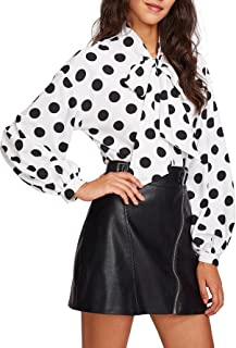 Women's Bow Tied Neck Lantern Long Sleeve Polka Dot Blouse