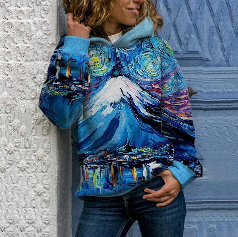 Fannyfuny Hoodie Pullover Damen Herbst Winter Kapuzenpullover Weihnachtsdruck Sweatshirt Winterpullover Langarm Jacke mit Kapuze Mantel Tops Mode 2020 03blue