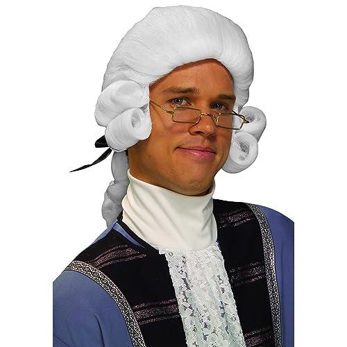 Mens Vintage Judge Wig Judges Court Barrister White Hair Black Ribbon Adult NEW