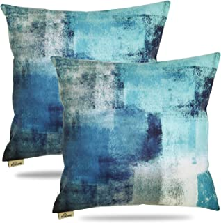 FOOZOUP Teal Turquoise Throw Pillow Covers 18X18 in Decorative Pillow Cushion Cases for Bed Couch Living Room Set of 2