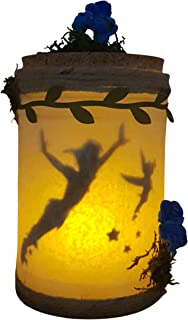 Peter Pan e Tinkerbell catturati in un barattolo di luce, LED nightlight baby room, luce fioca.