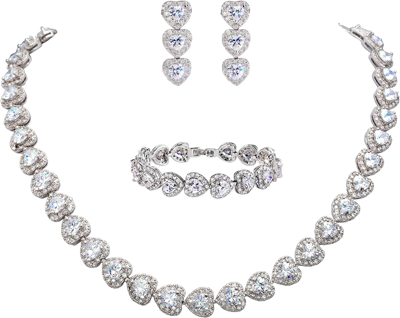 EVER FAITH Women's CZ Charlotte Mall Stunning Earrin Necklace Max 54% OFF Tennis Heart Love