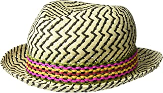 Women's Textured Zigzag Paper Fedora with Braided Band