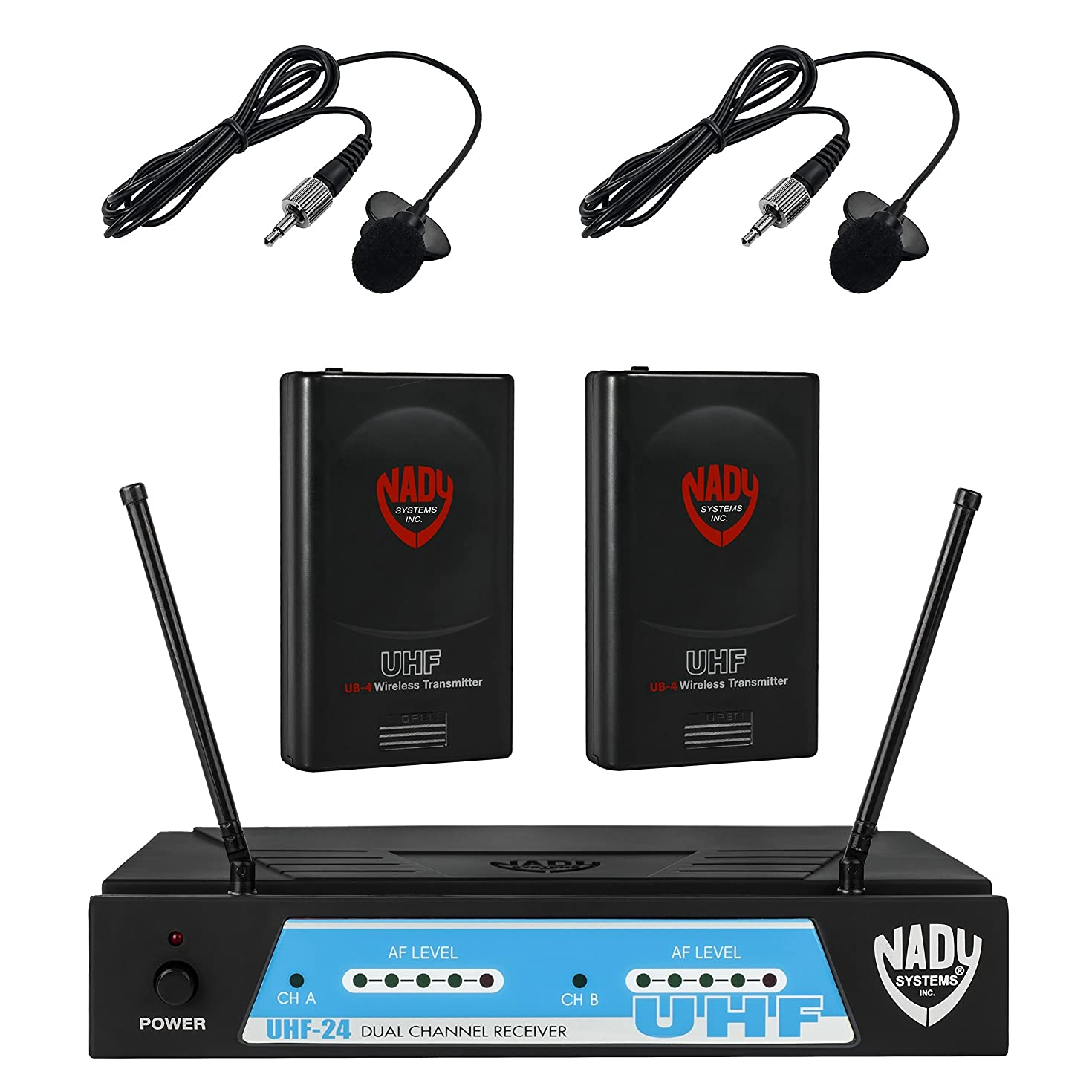 Nady UHF-24 Wireless Dual Lapel/Lavalier Microphone System with True Diversity