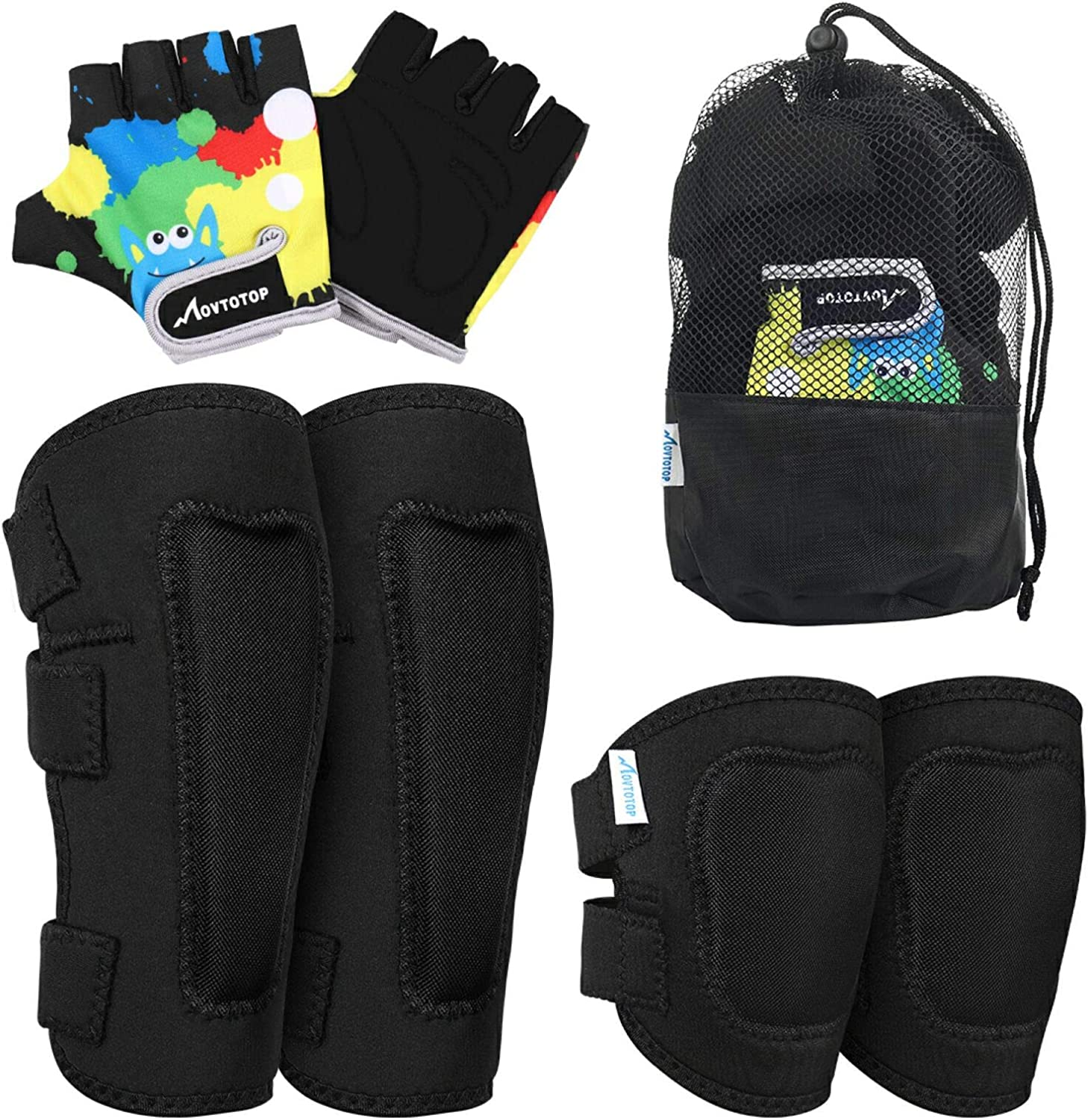 Toddler Sports Protective Gear with Mesh Bag for Kids Skateboard Rollerblading Bike Scoote MOVTOTOP Knee Pads for Kids Soft Kids Knee and Elbow Pads with Gloves Set-Reinforced Stitching Around
