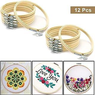 Aros de Bordado (Pack de 12) - Bastidor de Punto de Cruz Bambú Redondo de Anillo para Manualidades Costura a Mano para Costura, DIY Decoraciones y Manualidades