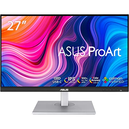 "ASUS ProArt Display 27"" Monitor PA278CV - WQHD (2560 x 1440), IPS, 100% sRGB, 100% Rec. 709, ΔE < 2, Calman Verified, USB Hub, USB-C, DisplayPort Daisy-Chaining, HDMI, Eye Care, Height Adjustable"