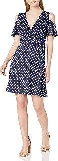 Star Vixen womens Cutout Cold Shoulder Short Sleeve Fauxwrap Dress Dress