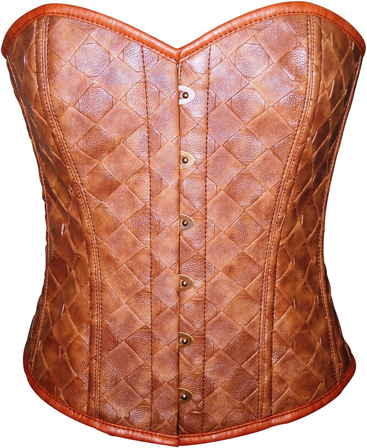 Brown Faux Leather Gothic Steampunk Waist Cincher Bustier Overbust Corset Top