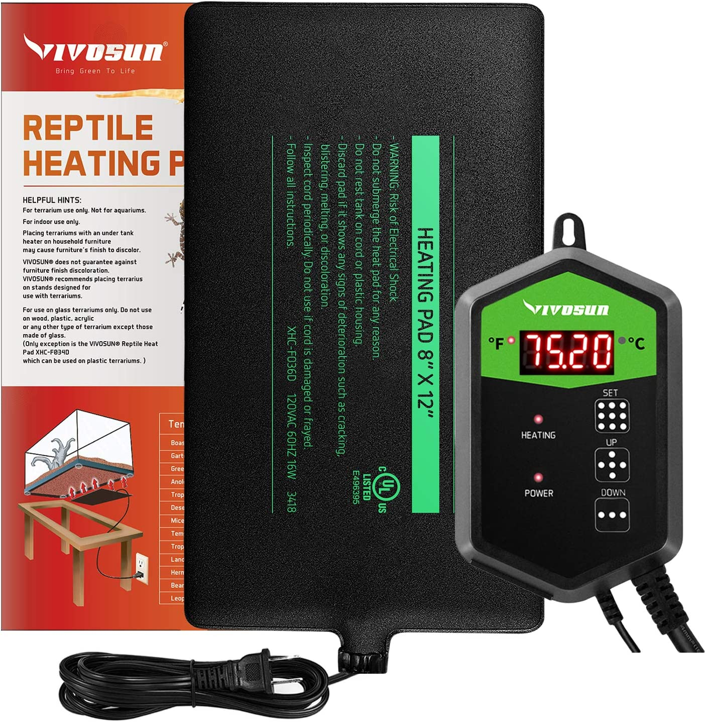 VIVOSUN Reptile Heat Mat with Digital Thermostat