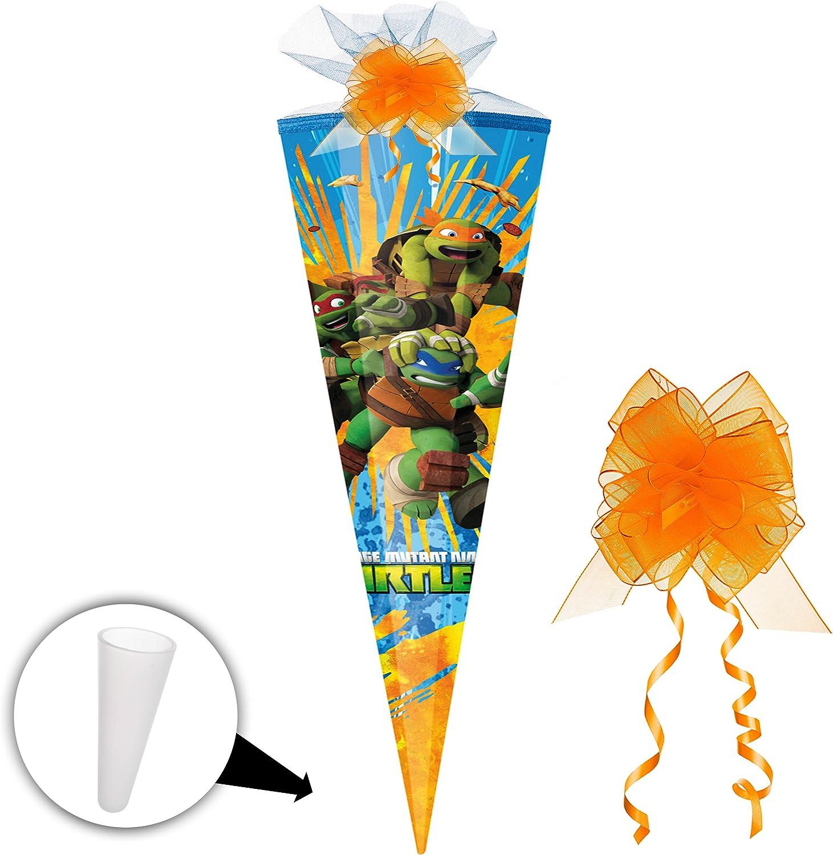 Alles-meine  GmbH 10 Stück _ Schultüten -  Teenage Mutant - Hero Ninja Turtles  - 50 cm - rund - incl. Schleife - mit Tüllabschlu - Zuckertüte - mit   ohne Kunststoff Spitze..