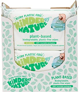 Kinder by Nature Plant Based Baby Wipes - 100% Biodegradable & Compostable, 672 Count (12 Packs of 56) - 99% Plant-Based I...