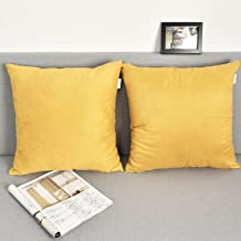 NATUS WEAVER 2 Pieces Deluxe Velvet Square Accent Throw Pillow Covers Cushion Case for Bedroom, 26 x 26, Gold