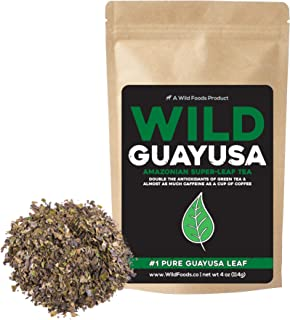 Organic Guayusa Tea, Loose Leaf Amazonian Superleaf Tea by Wild Foods, Full of Antioxidants and Caffeine, Smooth non-bitter flavor, Preserves Rainforest (#1 Pure Guayusa Leaf, 4 ounce)