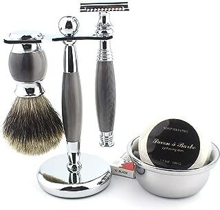 Shaving Gift Kit for Men,Yunlep Luxury Grooming Wet Shaving Set Including Razor with 10 Replacement Blades,Chrome Stand,Bowl,Shaving Soap,Shaving Brush (Gray)