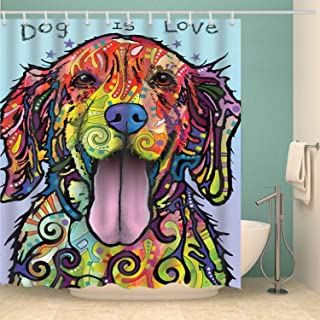 Macheep Dog is Love 3D Print Design Bathroom Colorful Lovely Cartoon Dog Shower Curtain with Hook Rust Metal Buttonhole Waterproof Polyester Cloth Suitable for Child Friends Adults 70'70'