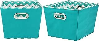 Household Essentials 90-1 Medium Tapered Decorative Storage Bins | 2 Pack Set Cubby Baskets | Aqua Chevron