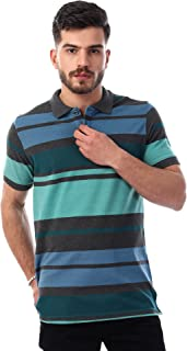 Andora Striped Side Slits Short Sleeves Cotton Polo Shirt for Men