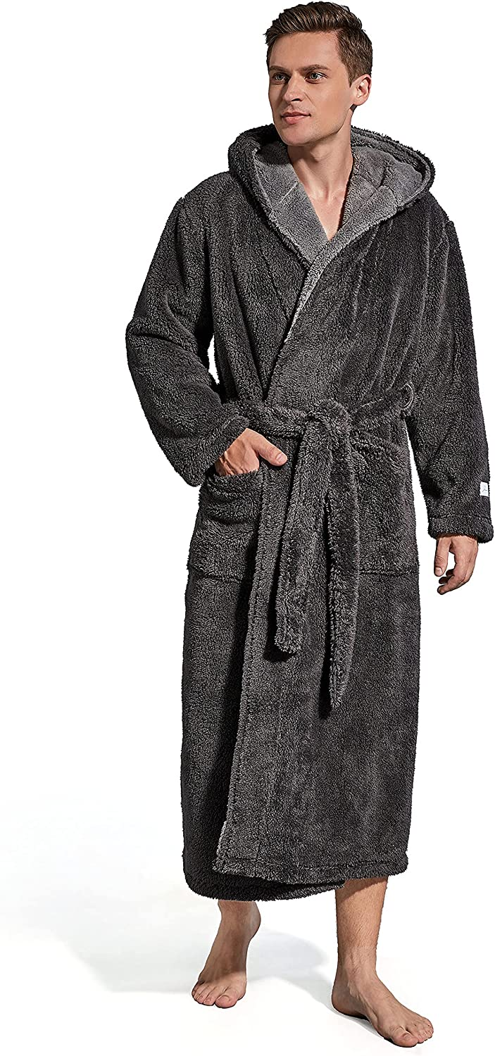 SlumberMee Mens Lightweight Plush Robe Import Soft Limited time for free shipping Ultra Fleece Hooded