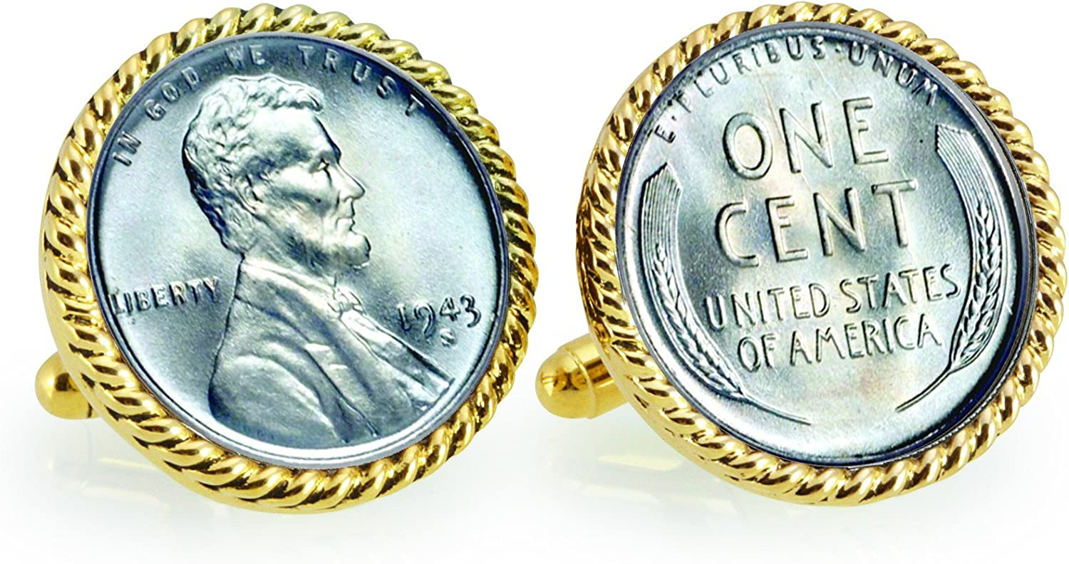 1943 Lincoln Steel Penny Rope Bezel Coin Cuff Links   United States Coins   Men's Cufflinks   Minted Only One Year