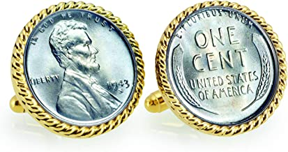 1943 Lincoln Steel Penny Rope Bezel Coin Cuff Links | United States Coins | Men's Cufflinks | Minted Only One Year