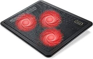 Laptop Cooling Pad, Coolertek Slim Portable USB Powered Laptop Cooler for Gaming Laptop - 3 Red LED Silent Fans - Dual USB 2.0 Ports - Height Adjustable Laptop Stand, Fits 11-17 Inch Notebook (C3-K)
