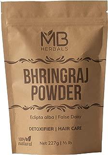 MB Herbals Pure Bhringraj Powder 227g / 8.00 oz / 1/2 lb - 100% Pure Bhringaraj Eclipta alba Powder - Promotes Healthy Hair Growth