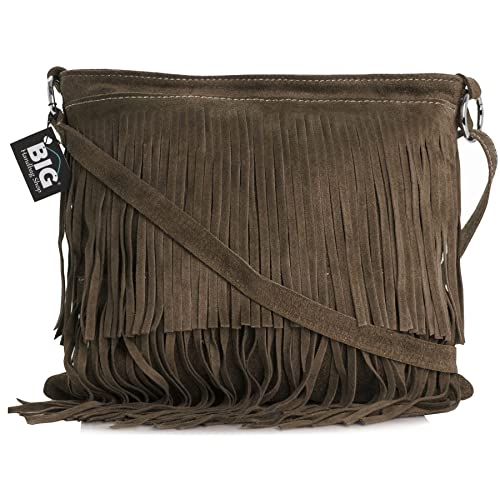 c901a96b9920 LiaTalia Womens Suede Leather Tassle Fringe Shoulder Bag (Large Size) -  Ashley