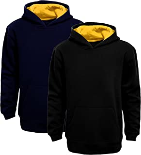 Boy's Pullover Hoodie with 2 Tone Hood in 2 Colors Fashionable Mens Apparel