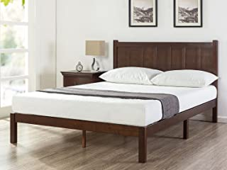 Zinus Adrian Timber Queen Bed Frame | Solid Wood Head Board, Quality Timber Slats, Easy Assembly, 5 Year Warranty - Chocol...