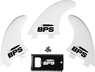 BPS Fiberglass Reinforced Surfboard Fins (3) + Screws and Wax Comb! Glass Flex Thruster..