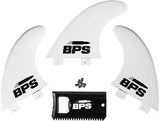 BPS Fiberglass Reinforced Surfboard Fins (3) + Screws and Wax Comb! Glass Flex Thruster Surf Fin Set (FCS Style G5 M5 Style) - Tri Fin Thruster Set Surfboard fins FCS fins Futures fins (FCS G5 M5)
