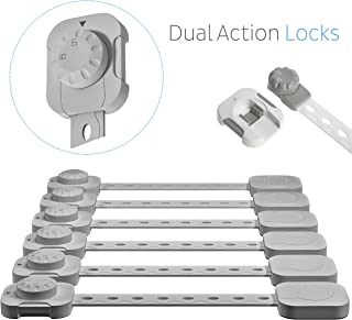 ALMA Child Safety Locks Baby Proof Cabinet Drawer Oven Toilet Seat Fridge Door 3M Adhesive No Drill Strap Dual Action Lock Latch White