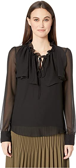 Textured Georgette Blouse with Tie