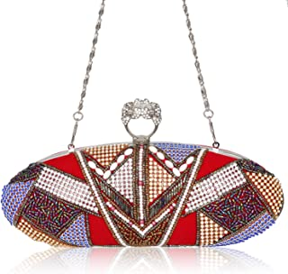 Crystal Ring Rhinestone Studded Knuckle Duster Evening Clutch Bag Beaded Sequin Flannelette Handbags