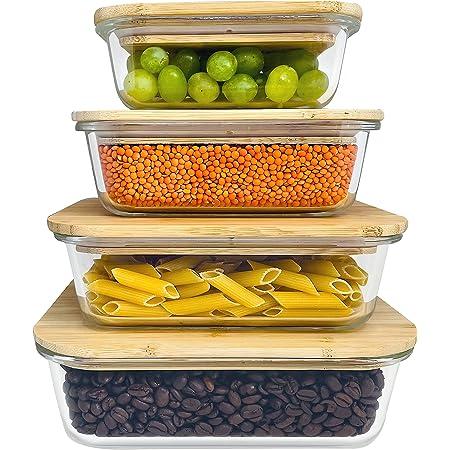 Greenable ® Fresh Storage Containers [Lot de 4] - Récipient en verre écologique avec couvercle en bambou durable - Sans BPA - Meal Prep Glass - Pratique et durable
