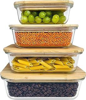 Greenable ® Fresh Storage Containers [Lot de 4] - Récipient en verre écologique avec couvercle en bambou durable - Sans BP...